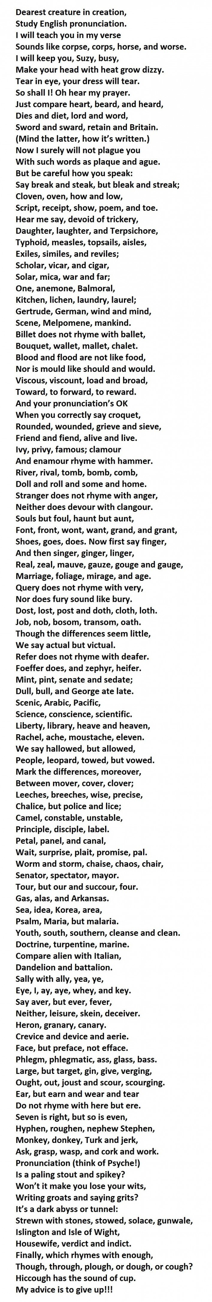 90 Of People Cannot Pronounce This Entire Poem Best Of Luck
