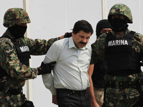 """Joaquin """"El Chapo"""" Guzman being arrested on drug charges."""
